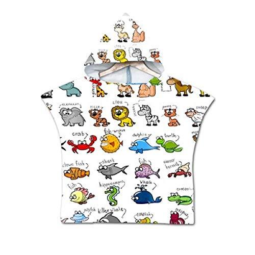 3DWY Animal Impreso Dibujos Animados niños Toalla de Playa bebé niños Toalla de baño con Capucha niños niñas Bata con Capucha Poncho para Nadar Ropa de Playa