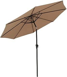 COBANA Patio Umbrella Outdoor Aluminum Table Umbrella of 9-Feet with 8 Ribs and Push Button Tilt and Crank, Tan