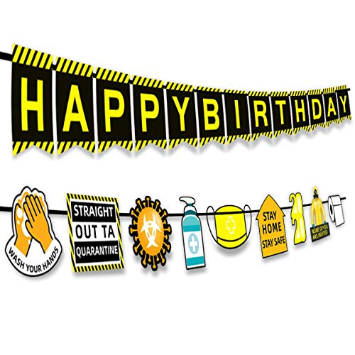 Funnlot Quarantine Happy Birthday Banner 2021 Update Quarantine Birthday Decorations Social Distancing Birthday Party Decorations Lockdown Birthday Decorations Stay at Home Party Supplies