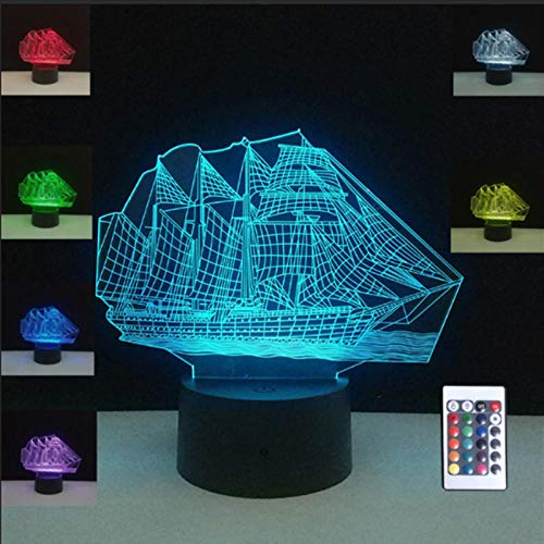 WxzXyubo Sailing Sea Boat Ship 3D Illusion RGB Night Light Cafe Home Table Desk Party Decoration Lamp USB Lights Christmas Lamps