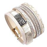 yuge Multilayer Leder Armband Frauen Mode Kristall Metall Charm Retro Breites Armband Und Armband Damen Schmuck Geige