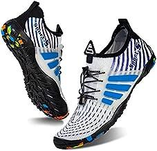 Water Shoes Mens Womens Beach Swim Shoes Quick-Dry Aqua Socks Pool Shoes for Surf Yoga Water Aerobics (B/White Blue, 44)
