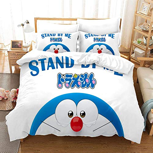 POPCC Doraemon: Doraemon White Background 1001 Bedding Sets, Duvet Cover Sets, for Otaku and Anime Fan's Room 3Pcs 1 Quilt Cover & 2 PillowcaseEU Twin Single(135x200cm)