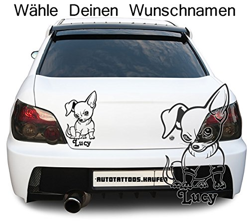 Autotattoo Autoaufkleber Chihuahua Hund Wunschname Creme KLEIN