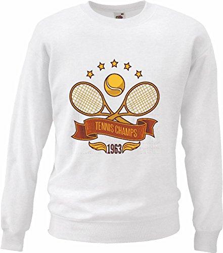 Sweatshirts tennis tennis camppeons tennisbal tennisbatje tennisbatje tennisracket tennisspellen lifestyle streetwear hiphop Legendario in wit