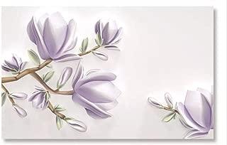 Kecoci 3D Wallpaper Classic Stereo Purple Magnolia Embossed Tv Background Home Decor-350Cmx245Cm