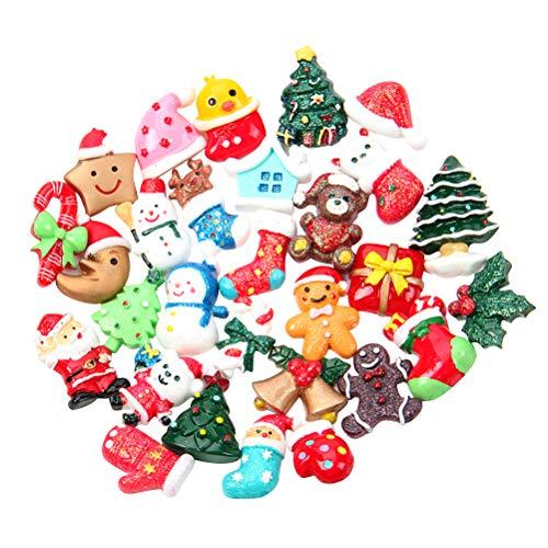 SUPVOX 50pcs Accessoires de Noël Miniatures Résine Cloches Chapeaux Noel Bonhomme de Neige Canne de Bonbon Artisanat Breloque Charmes Noël (Modèle Assorti)