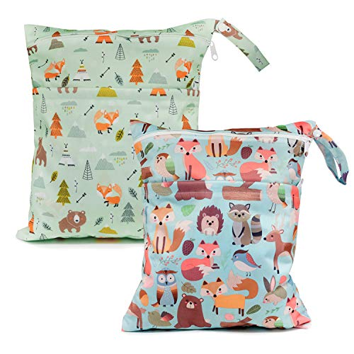 Baby Cloth Diaper Wet Dry Bags Waterproof Reusable Diaper Organizer with Two Zippered Pockets