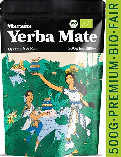 Marania® Yerba Mate Tee Bio ● Vergleichssieger 2020¹ ● Lose grüne Teeblätter ● Premium-Qualität ● Natürlicher Energy Drink Koffein ● Matetee Erva Mate Grüner Tee Guarana Tee Guayusa Tee