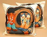 Mission Del Rey Southwestern & Western Pillow Covers 18x18 - (Pair) 2 Digital Printed Covers for Native American or Cowboy Style and Rustic Cabin Decor (Boots & Lasso)