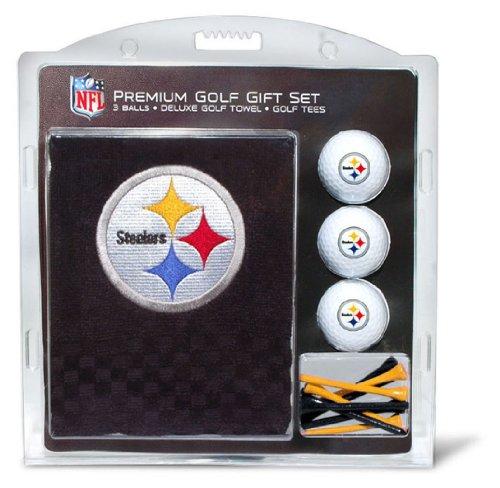 Team Golf NFL Pittsburgh Steelers Geschenkset Besticktes Golf-Handtuch, 3 Golfbälle und 14 Golf-Tees 6,5 cm Regulierung, dreifach gefaltetes Handtuch 40,6 x 55,9 cm und 100 % Baumwolle