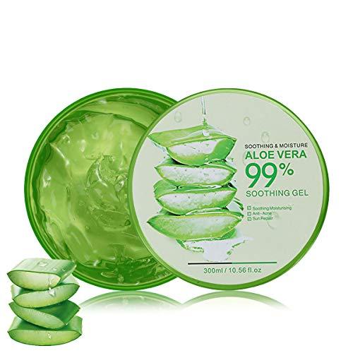 Aloe Vera Gel 300ml Natürliche beruhigende und pflegende Feuchtigkeitscreme Bio Creme 99% Pur, Ideal für Sonnenbrand Reparieren, trockene strapazierte Empfindliche Haut -...