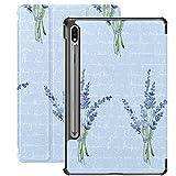 Estuche para Galaxy Tab S7 Estuche Delgado y liviano con Soporte Estuche para Tableta Samsung Galaxy Tab S7 de 11 Pulgadas Sm-t870 Sm-t875 Sm-t878 2020 Versión, patrón Lavanda Texto ilegible
