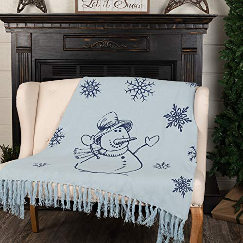 VHC Brands Happy Snowman Navy on Blue Vintage Farmhouse Holiday Woven Cotton Throw Blanket 60x50