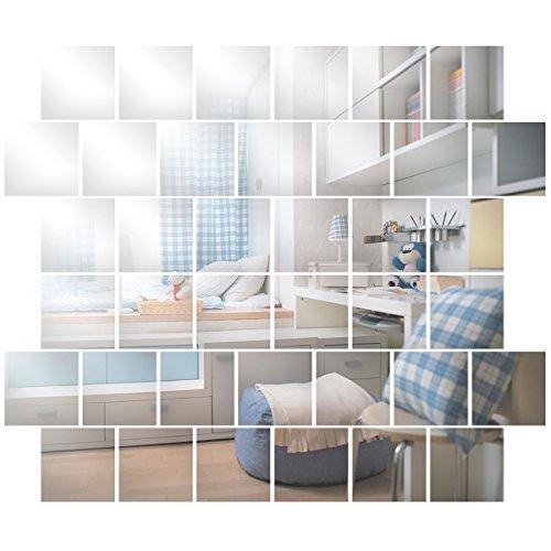 Anladia Wandspiegel Spiegelfliesen Selbstklebend 15x15cm, 32 Stück Quadratische Spiegel Silber für Badezimmer, Küche, Wohnzimmer, Umkleidekabine, Büro