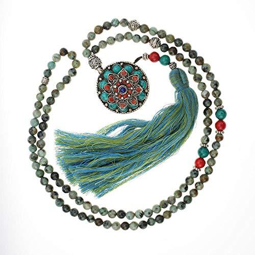 MSSZH Collar Colgantes Redondos Nepaleses Turquesa