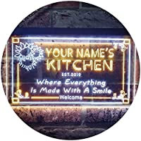 Personalized Your Name Est Year Theme Kitchen Flower Deco Dual Color LED看板 ネオンプレート サイン 標識 白色 + 黄色 400 x 300mm st6s43-ps1-tm-wy