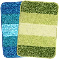 Saral Home Soft Microfiber Anti-Skid Bath Mat - Pack of 2, 35x50 cm