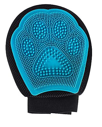 Crea Ebe- Guante de aseo para perros y gatos - Cepillo suave y masajeador para eliminar el pelo de mascotas (azul)