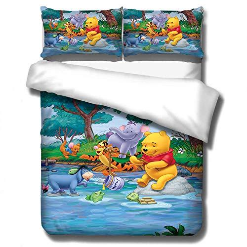 ZKDT 3D Winnie The Pooh Theme Design - Juego de sábanas de microfibra (3 unidades), Diseño 2, 220 x 240 cm