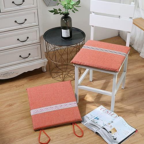 Cojín de silla Cojín del asiento Cojín Para Sillas Sin Resbalones Asiento Transpirable Cojín Cojín De Comedor Cuadrado Cojín Con Cuerda De Corbata Adecuado Para Dormitori(Size:40x40cm,Color:rojo)