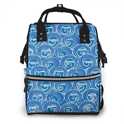 Diaper Bag Backpack, Multi-Function Baby Bag, Maternity Nappy Bags for Travel, Large Capacity, Waterproof, Durable & Stylish for Woman and Men Hand Blue Sea Waves