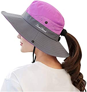 C.C-US Women's Summer Sun Hat Wide Brim Hat with Pony Tail Hole UV Protection UPF 50+ Foldable Hat for Outdoor Beach Hiking Fishing