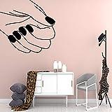 TYLPK Bande Dessinée Manucure Salon Stickers Muraux Autocollant Vinyle Étanche Mur Art Stickers Pour Chambre D'enfants Chambre Art Deco Stickers Muraux d'or 57X58CM