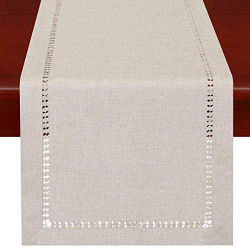 Grelucgo Handmade Hemstitched Polyester Rectangle Table Runners and Dresser Scarves, Beige 14x54 inch