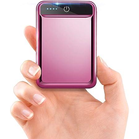 モバイルバッテリー 大容量 小型 10000mAh 【PSE認証済】急速充電 2.1A スマホ充電器 軽量 USB2ポート 2台同時充電可能 LED液晶画面 残量表示 携帯充電器 iOS/Android対応(ローズゴールド)