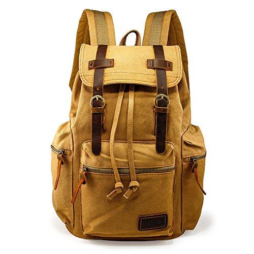 GEARONIC TM 21L Vintage Canvas Backpack for Men Leather Rucksack Knapsack 15 inch Laptop Tote Satchel School Military Army Shoulder Rucksack Hiking Bag Khaki