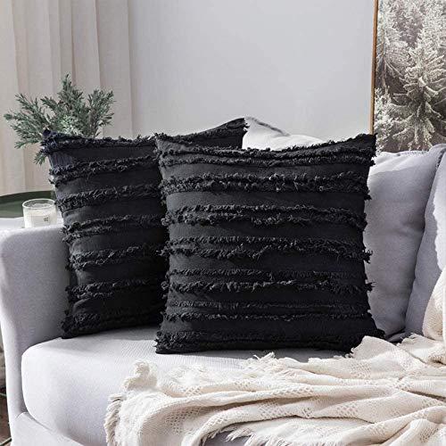 GSDJU Fundas de almohada, para inauguración de la casa, Día de la Madre, Navidad, coches, 45 x 45 cm, decoración del hogar, funda de cojín de sofá, diseño floral, con borlas, 2 unidades, color negro