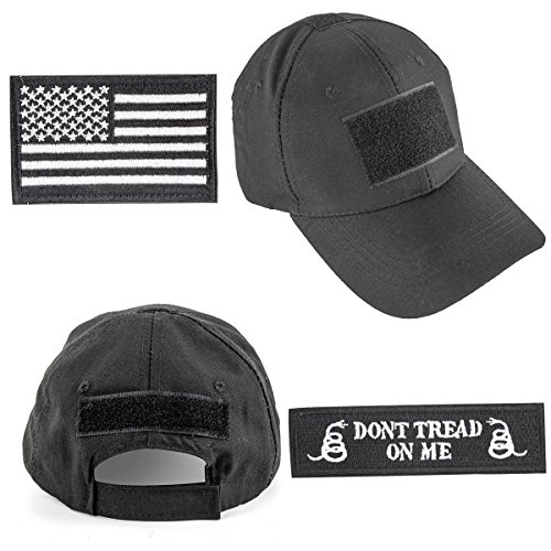 GES Tactical Hat for Men with 2 Pieces Military Patches, Adjustable Operator Hat with USA Flag/Dont Tread, American Flag Hat for Men Work, Gym, Hiking and More (Black Cap)