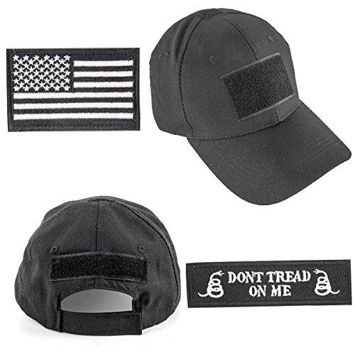 GES operador Cap Bundle táctica sombrero con bandera de Estados Unidos/Dont Tread On Me parches de velcro, negro (Black cap)
