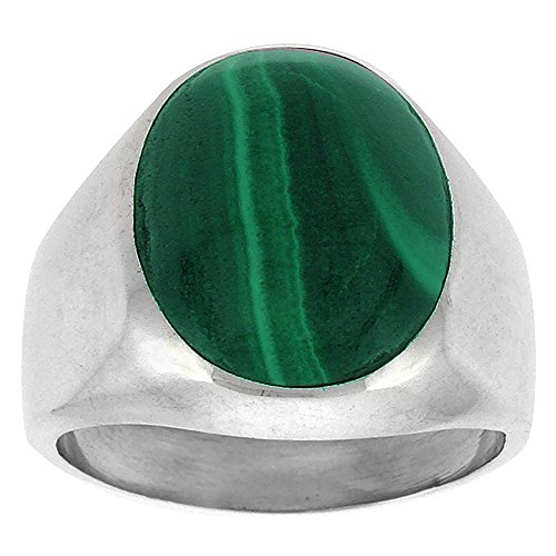Sterling Silver Malachite Ring for Men Large Oval Domed Solid Back Handmade, Size 10