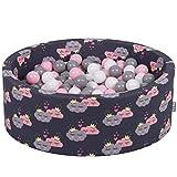 KiddyMoon Piscine À Balles 90X30cm/200 Balles ∅ 7Cm pour Bébé Rond Fabriqué en UE, Nuages-Bleu Foncé: Blanc-Gris-Rose Poudré