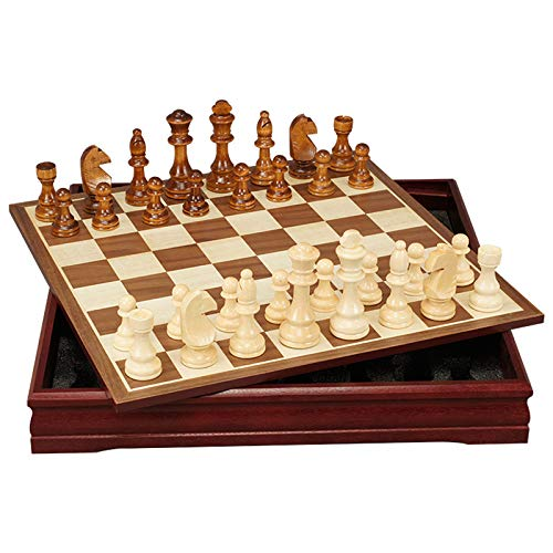 Wooden Chess Set Folding Large International Chess Entertainment Game Chess Set for Kids Adults Gift (30X30x4cm)