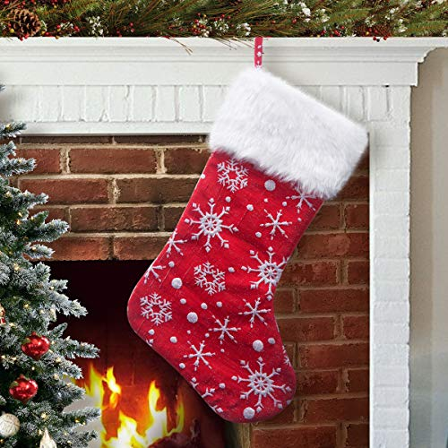 Snowflake Design Red and White Christmas Stocking with Faux Fur Cuff