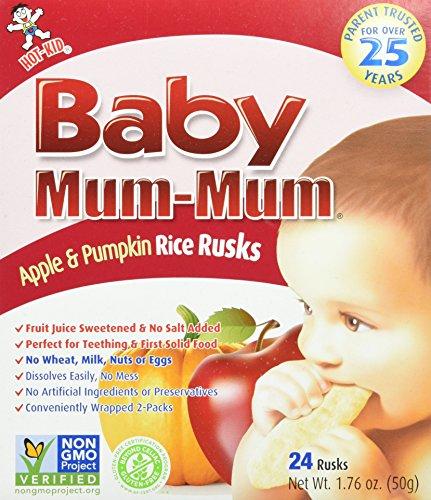 Hot-Kid Baby Mum-Mum Rice Rusks, Apple & Pumpkin, 24 Pieces Gluten Free, Allergen Free, Non-GMO, Rice Teether Cookie for Teething Infants