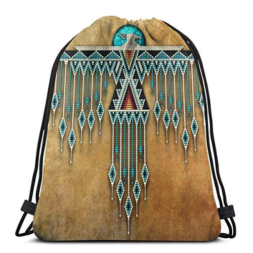 NGMADOIAN Calcetines Negro Native American 3D Print Mochila con cordón Mochila Bolsos de hombro Bolsa de gimnasio para adultos 16.9