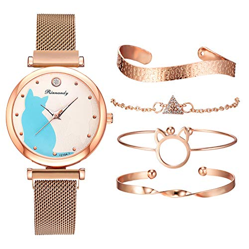 armbanduhren Damen günstig,Armbanduhr Damen metallarmband,Damen Analog Quarz Armbanduhr,armbänder Damen Set,Wristwatch for Women,Bracelets for Girls (Roségold + Armband)
