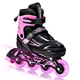 Qvamodo Pink Adjustable Inline Skates for Girls Women with Fun Lighting Wheels& Protective Gears, Safe Roller Skates for Beginners Kids Teens Youth Adult, from Size 12C to Size 10