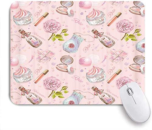 Gaming Mouse Pad rutschfeste Gummibasis, rosa Kosmetik Dekor Kollektion Mode Mädchen Frauen Make-up Gesicht Creme Handtasche Lippenstift, für Computer Laptop Schreibtisch