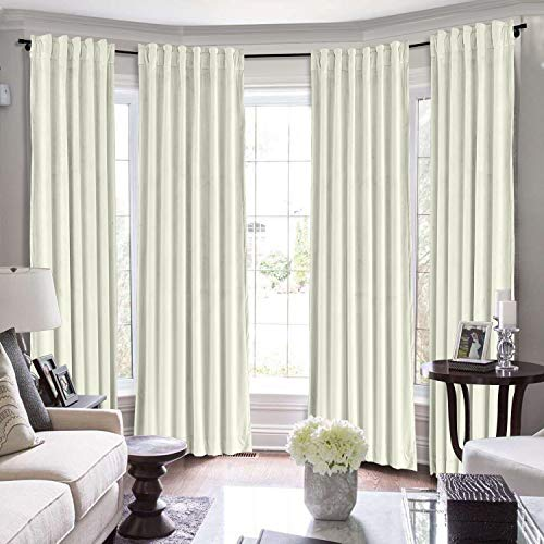 ChadMade Set of 2 Solid Velvet Curtain Panel Drapes Back Tab/Rod Pocket Beige 50W x 96L Inch Each, Birkin Collection
