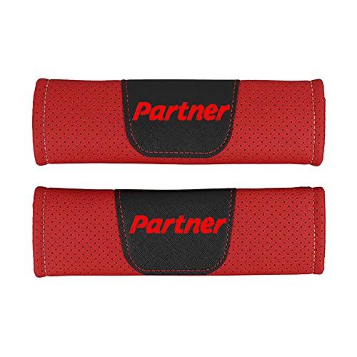 Protector de cojín de hombro para cinturón de seguridad de estilo de coche de cuero Pu,para Peugeot Partner,accesorios de estilo de coche, 2 piezas
