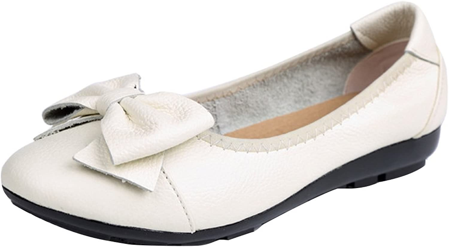 Zoulee Womens Point Toe Bowknot Ballet Comfort Slip on Flats shoes