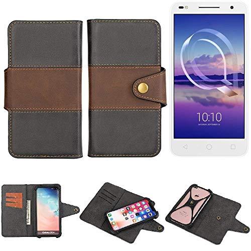 K-S-Trade® Handy-Hülle Schutz-Hülle Bookstyle Wallet-Case Für -Alcatel U5 HD Dual SIM- Bumper R&umschutz Schwarz-braun 1x