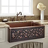 LUXURY Single Bowl Vine Design Copper Kitchen Farmhouse Sink