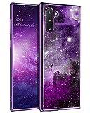 BENTOBEN Compatible Galaxy Note 10 Case, Slim Fit Glow in The Dark Hybrid Hard PC Soft TPU Bumper Drop Protective Girls Women Men Phone Cover for Samsung Galaxy Note 10 6.3', Purple Galaxy