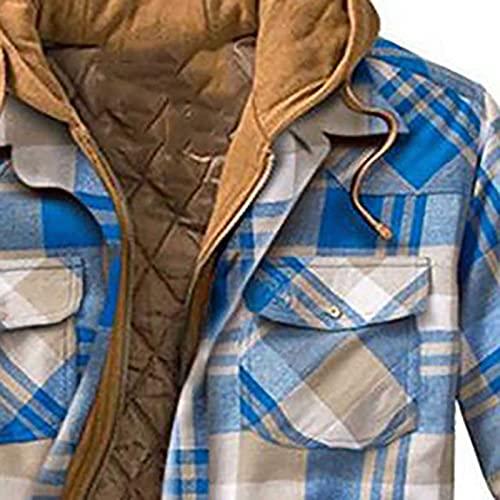 QEERT Abrigo de invierno para hombre, largo acolchado, camisa a cuadros con botones y terciopelo para mantener el calor, chaqueta con capucha, azul celeste, XXXXXL